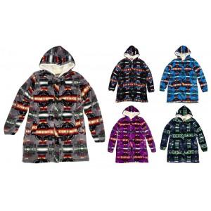 Women's Sherpa Hooded Long Jacket